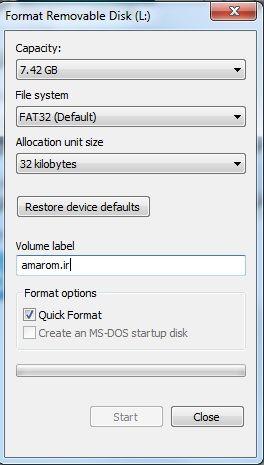 فرمت کردن SDcard